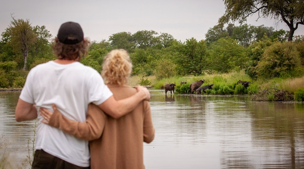 Honeymoon couple on safari in South Africa